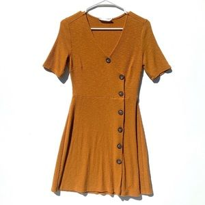 Lush Button-Down Ribbed Wrap Fit Flare Dress XS